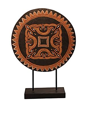 Asian Loft Antique Round Primitive Tribal Shield on Stand, Black/Red/White