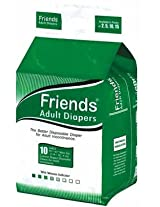 Friends Adult Diaper Basic (Large) - Case of 12 diaper packs (120 diapers total)
