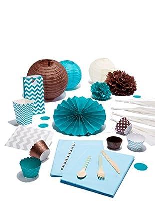 Dress My Cupcake Baby Shower Party Box, Turquoise/Diamond Blue