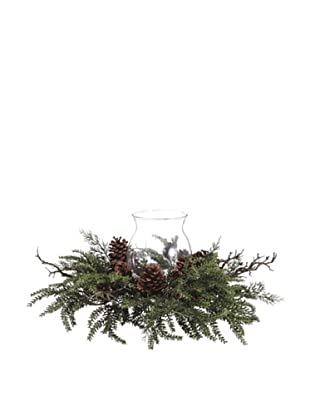 Pinecone, Twig & Pine Candle Ring with Glass Candleholder