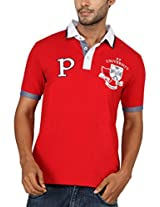 Paani Puri Men's Cotton Polo (MPSPP115_Red_X-Large)
