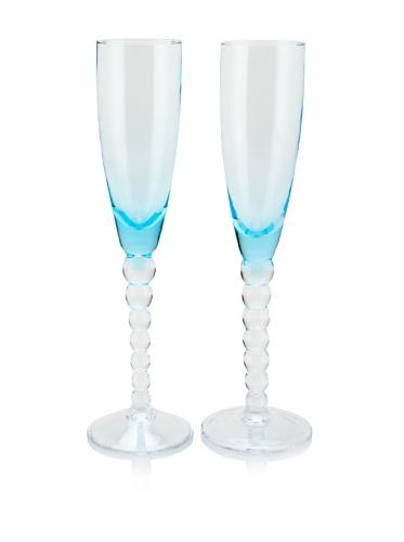 Villa d'Este Set of 2 Champagne Flutes (Turquoise)
