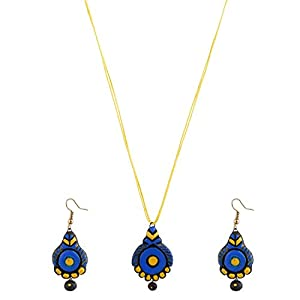 Artistri Indigo Blue And Bright Yellow Round Pendant With Earrings