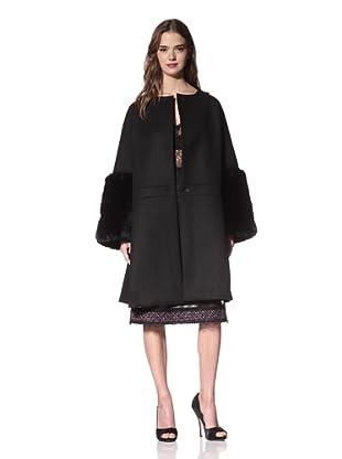 NINA RICCI Women's Wool Coat with Faux Fur Trim (Black)