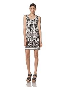 Donna Morgan Women's Scoop Neck Sleeveless Dress (White/Black)