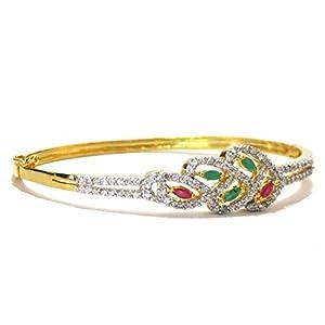 Daamak Jewellery White Stones Leafs Bracelet