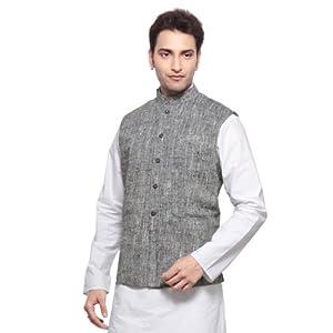 Grey Shot Tone Art Ghicha Silk Readymade Nehru Jacket