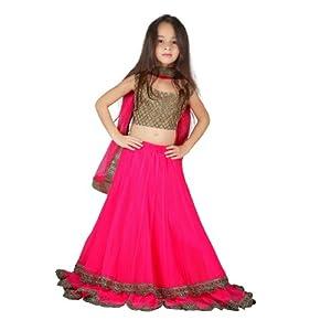 K&U Girl's Lehenga, 11-12 Years, Pink and Gold