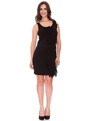 Cortefiel Kleid mit Volants (Schwarz)