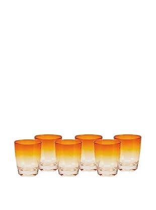 Impulse! Set of 6 Sunset Rocks Glasses, Orange