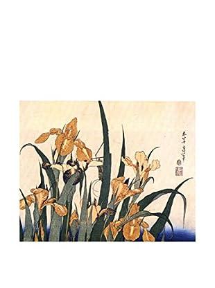 LegendArte  Wandbild Iris und Heuschrecke von Katsushika Hokusai