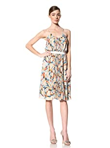 Doo.Ri Women's Pleated Dress with Ruffles and Belt (Multicolored)