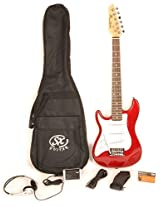 SX RST 1/2 Car Left Handed 1/2 Size Short Scale Red Guitar Package with Pocket Amp, Carry Bag and In