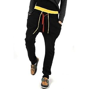 Men Casual Adjustable Drawstring Harem Hip Pocket Pants