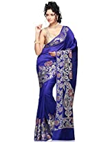 Utsav Fashion Women's Dark Blue Pure Banarasi Silk Saree with Blouse