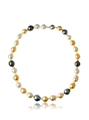 Radiance Pearl AAA Quality Drop Shaped South Sea Multicolor Pearl Necklace