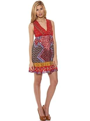 Peace & Love Vestido Estampado Abalorios (Multicolor)