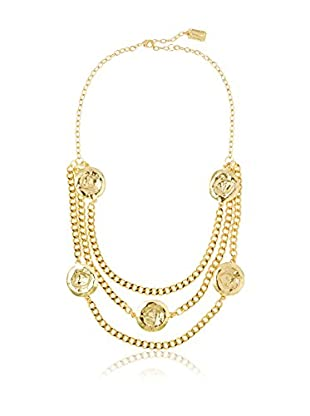 Karine Sultan Jewelry Triple Row Hammered Disc Necklace