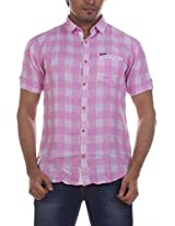 Fashionbean Men's Casual Shirt (CS1269B_XXXL, PINK, XXXL)