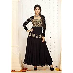 Jennifer Winget(Kumud) Black Georgette Top With Santoon Bottom & Chiffon Dupatta Zari Embroidery Work Anarkali Salwar Suit Set