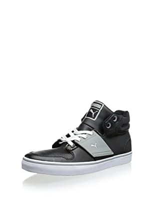 PUMA Men's El Ace 2 Mid Perforated Sneaker (Black/Limestone Gray)