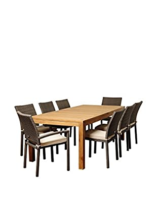 Amazonia Teak Buffalo 9-Piece Wicker Rectangular Dining Set with Off-White Cushions, Brown/Grey