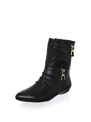Chocolat Blu Women's Amelia Low Wedge Boot (Black Leather)