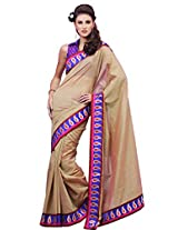 Utsav Fashion Women's Cream Art Silk Saree with Blouse