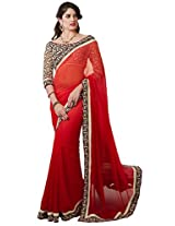Kvsfab Georgette Zari Saree (Kvs 1308Val _Red)