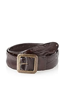 John Varvatos Collection Men's Italian Leather Belt with Grommet Detail (Brown)