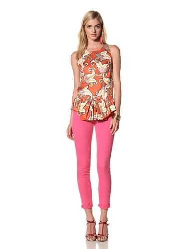 Thakoon Women's Sleeveless Peplum Top (Orange/White)