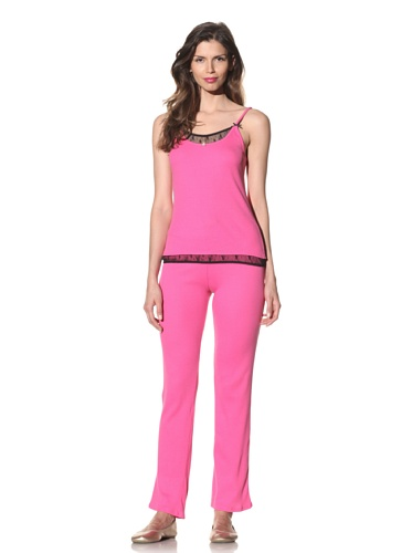 Betsey Johnson Women's Lace-Trimmed Pajama Set (Think Pink)