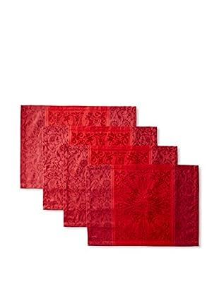 Garnier-Thiebaut Set of 4 Cassandre Grenat Placemats, Red