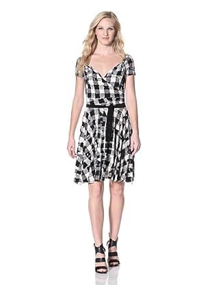 KAMALIKULTURE Women's Short Sleeve Sweetheart Flair Dress (Black/White)