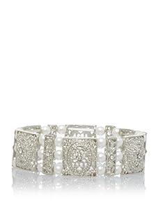 Leslie Danzis Estate Inspired Large Pearl Stretch Bracelet, Antique Silver