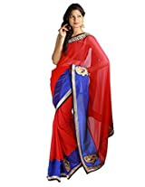 Shubh Embroidered Saree (Red)_SASF426