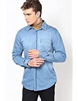 Ligh Wash Denim Shirt River Island
