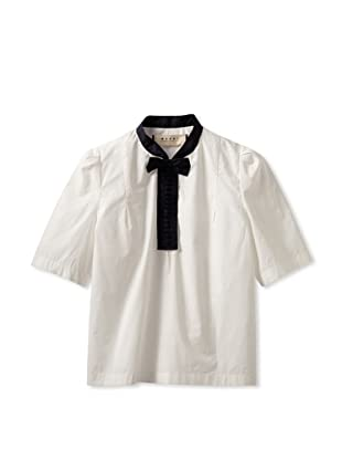 MARNI Women's Woven Blouse with Contrast Bow (White)