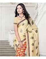Crepe & Tussar Silk Saree With Blouse