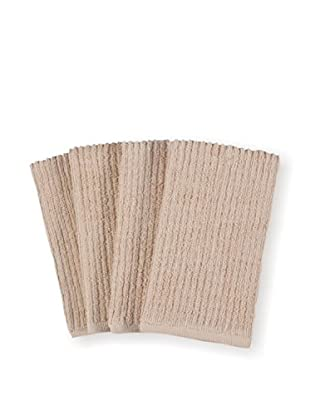 KAF Home Set of 4 Deluxe Bar Mop Kitchen Towels, Oatmeal