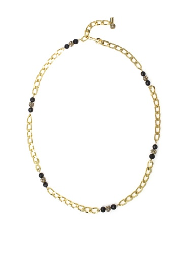 Tuleste Market Marbled Chain Link Necklace, Gold/Charcoal