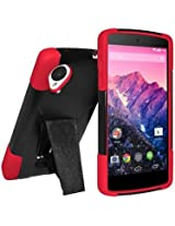 Amzer Double Layer Hybrid Case Cover with Kickstand for LG Nexus 5 D820, Google Nexus 5 D820 (Fit All Carriers) - Retail Packaging - Black/ Red