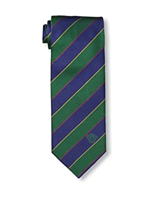 Versace Men's Striped Tie, Green/Dark Blue