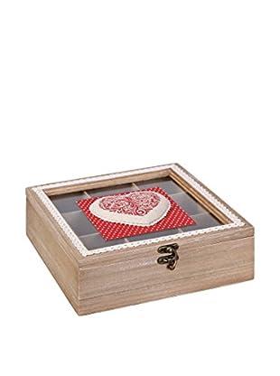 Romantic Style Caja de Té Heart Rojo / Blanco