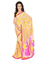 Sonal Trendz Grey & Yellow Color Printed Saree. Weightless Fabric Printed Saree with Lace & Blouse. Festive Wear.