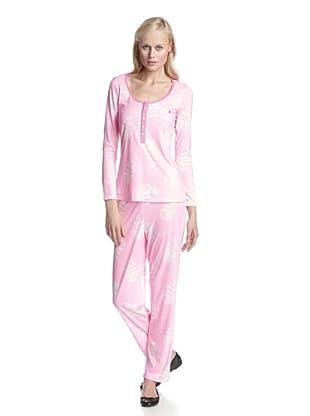 BH PJ's by BedHead Pajamas Women's Placket Pajama Set (Etched Rose Pink)