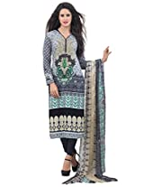 Inddus Women Grey Colored Cotton Blend Printed Dress Material