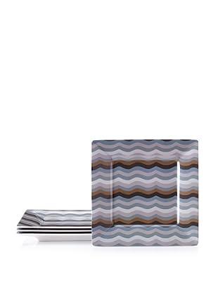 "Bongenre Set of 4 Jazz Grey 8"" Square Plates (Grey/Brown)"