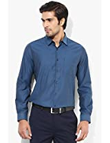 Blue Solid Slim Fit Formal Shirt London Bridge
