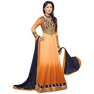 Hina Khan Dark Orange Designer Floor Length Anarkali Suit